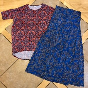LulaRoe Bundle Maxi Skirt Dress Irma Shirt Sz L